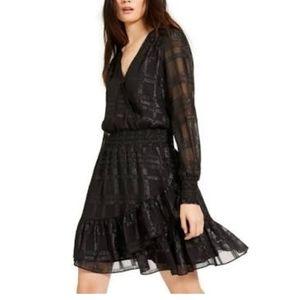 NWT Michael Kors shiny plaid long sleeve dress